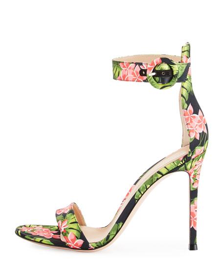 Floral-Print Ankle-Strap Sandal, Red