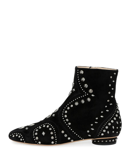 Pebbles Studded Flat Bootie, Black
