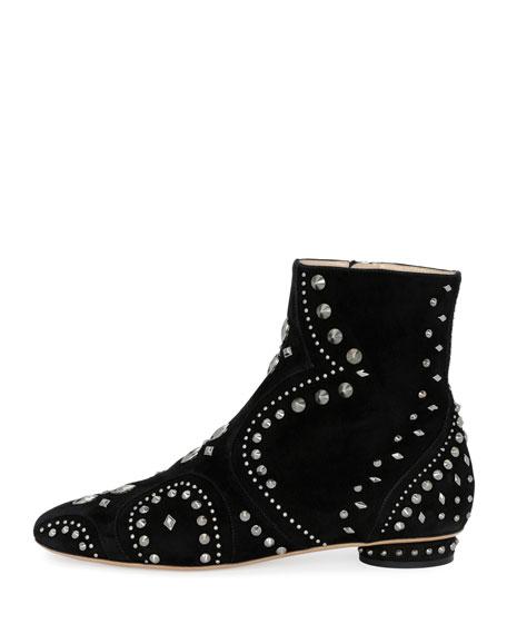 Pebbles Studded Flat Bootie, Black