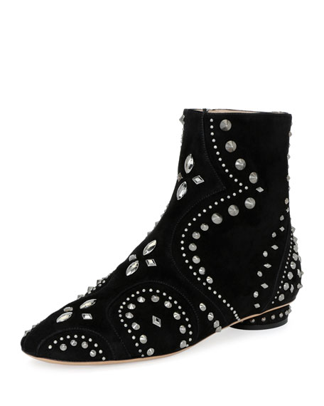 Valentino Pebbles Studded Flat Bootie, Black
