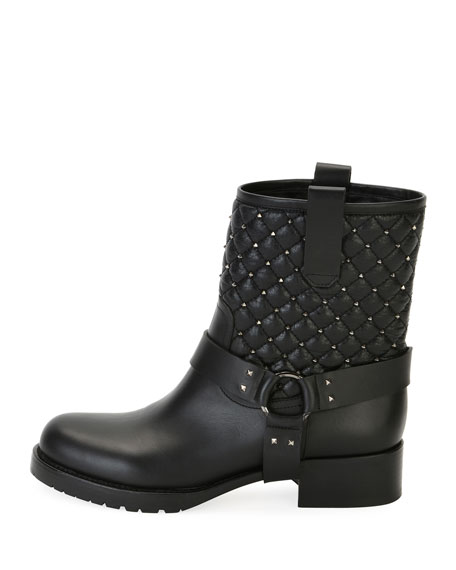 Rockstud Quilted Leather Moto Boot, Black