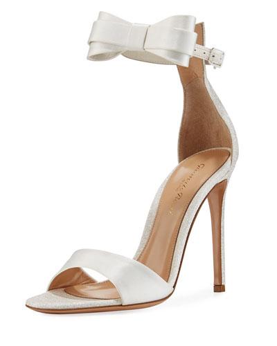 Satin Bow-Tie d'Orsay Sandal, White