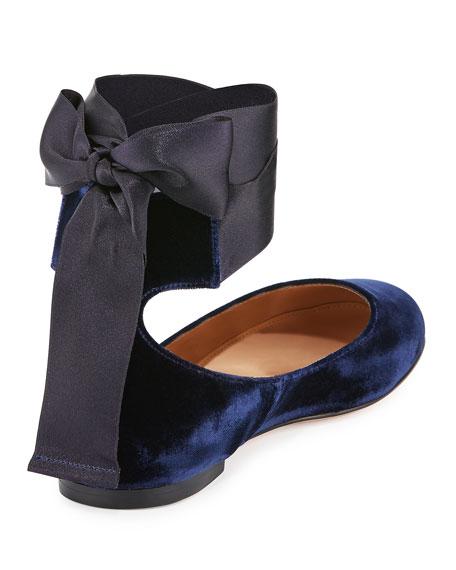 Odette Velvet Ribbon-Tie Ballerina Flat