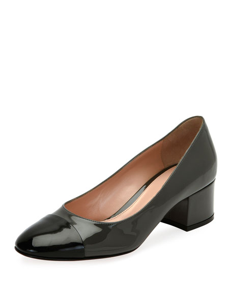 Langley Pump 45 Patent Cap-Toe Block-Heel Pump, Black/Blue