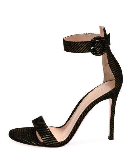 Portofino 105 Striped Suede Sandal, Black/Gold