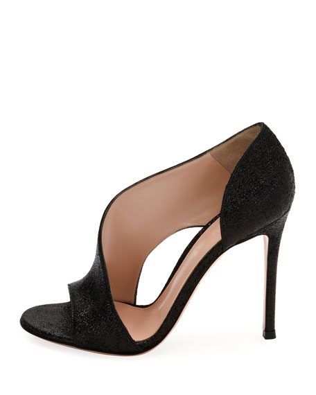 Demi Asymmetric Metallic Fabric Sandal, Black