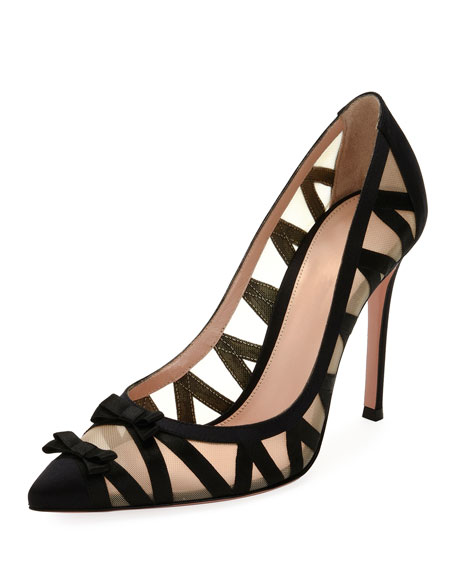 Gianvito Rossi Zigzag Illusion 105mm Bow Pump, Black