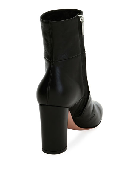 Stitched Leather Block-Heel Boot, Black