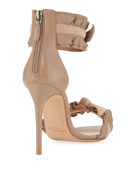 Aletta Ruffle-Trim Leather & Suede Sandal