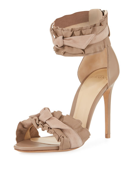 Alexandre Birman Aletta Ruffle-Trim Leather & Suede Sandal