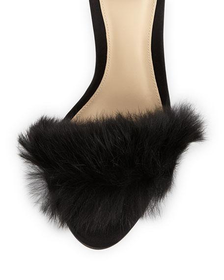 Clarita Rabbit Fur Sandals, Black
