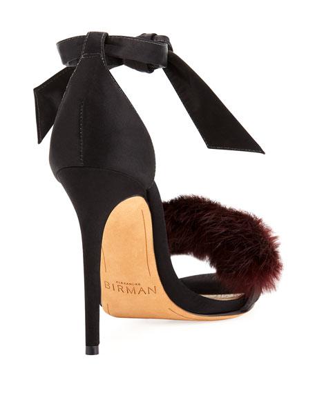 Clarita Mink Fur Ankle-Tie Sandal