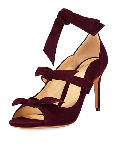 Alexandre Birman Charlotte Suede Three-Strap Pump, Wine Berry