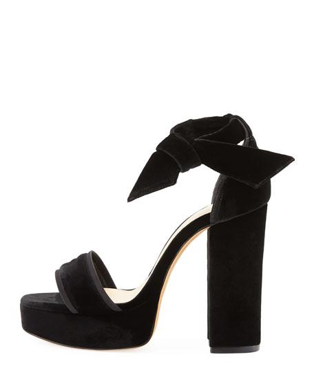 Celine Platform Velvet Sandal, Black