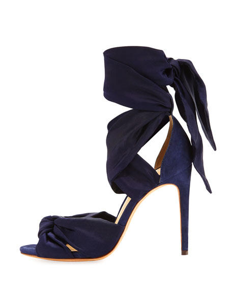 Katherine Knotted Ankle-Wrap Sandal, Nightshade