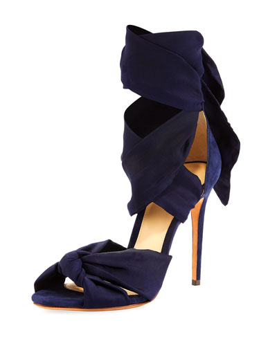 Katherine Knotted Ankle-Wrap Sandal, Nightshade