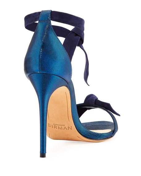 Clarita Suede & Satin 100mm Sandal, Navy