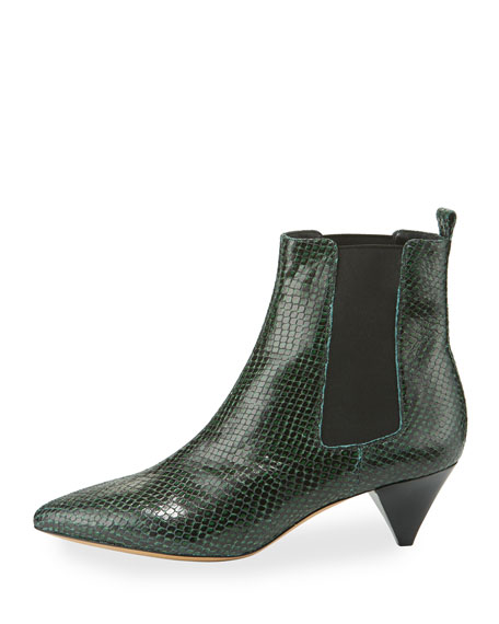 Dawell Low-Heel Chelsea Boot, Green