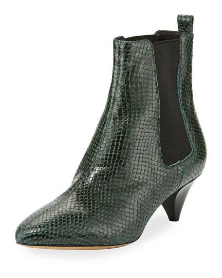 Dawell Low-Heel Chelsea Boot, Green