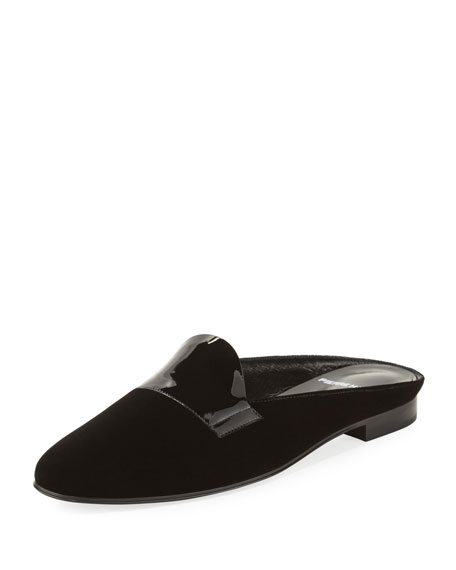 Flat Velvet Loafer Mule