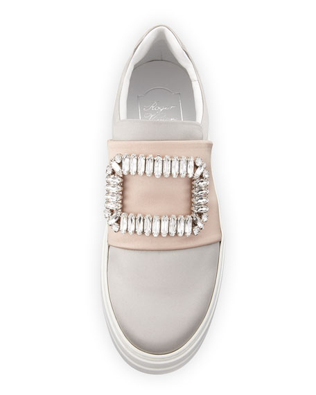 Sneaky Viv Crystal Buckle Sneaker, Gray