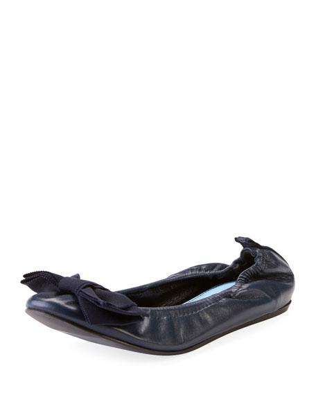 Flat Leather Bow Ballerina Flat, Navy