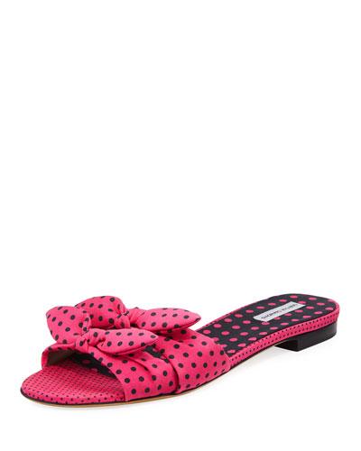 Cleo Polka-Dot Bow Flat Slide Sandal, Pink/Black