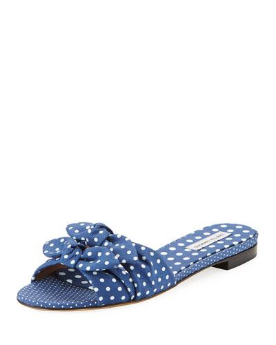 Cleo Polka-Dot Bow Flat Slide Sandal