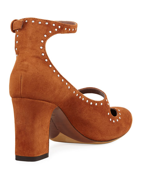 Tutu Studded Suede Buckle Pumps, Camel