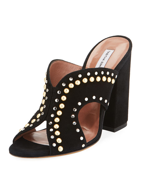 CELIA STUDDED DENIM CUTOUT SLIDE SANDALS