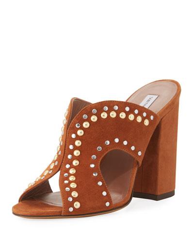Celia Studded Suede Mule Sandal
