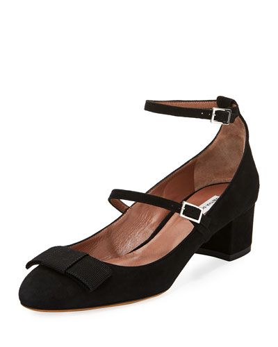 Rubia Suede Double-Buckle Pump, Black