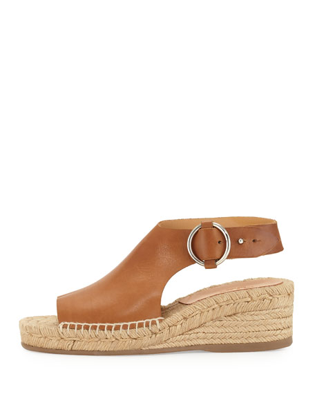 Calla Leather Wedge Espadrille Sandal, Light Brown