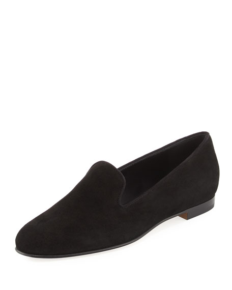 Dipla Suede Smoking Slipper, Black