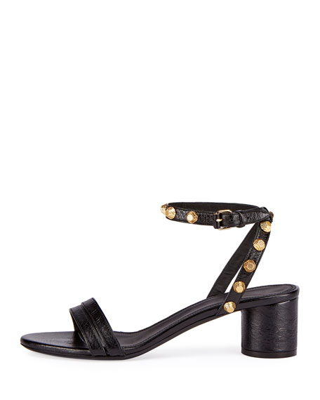 Studded Arena Leather Ankle-Wrap Sandal, Black