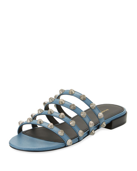 Mini-Studded Leather Slide Flat Sandal
