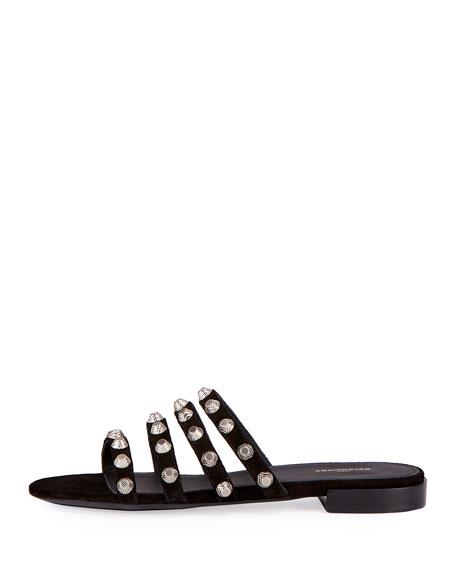 Studded Suede Slide Flat Sandal, Noir/Silver