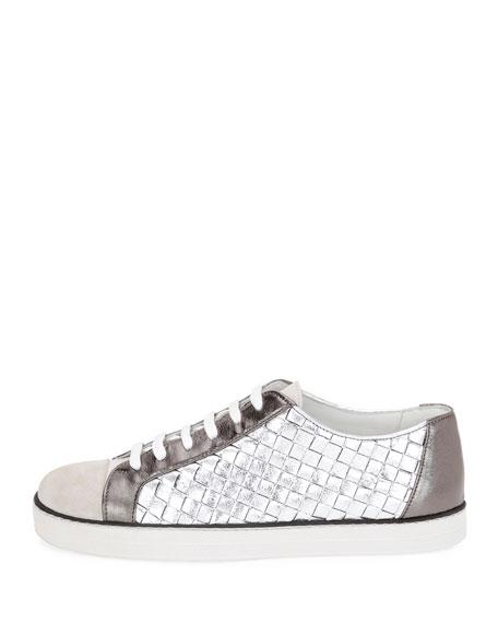 Intrecciato Low-Top Sneaker, Silver