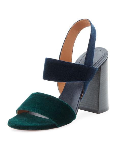 Mia Colorblock Velvet Sandal, Green