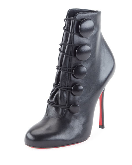 Booton Leather Red Sole Button Bootie, Black