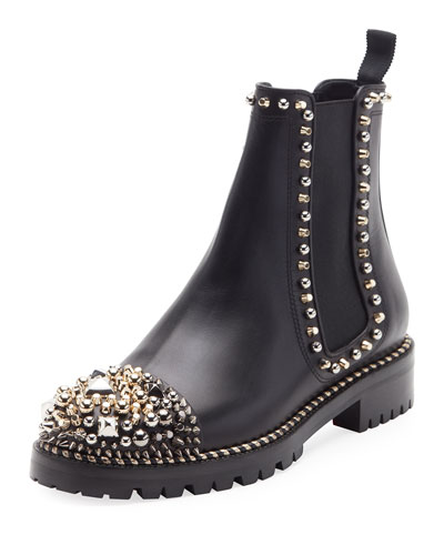 Chasse A Clou Flat Chelsea Bootie, Black