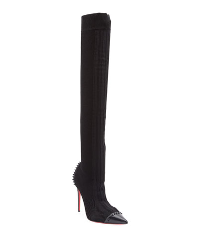 Souricette Spiked Tall Sock Red Sole Boot, Black