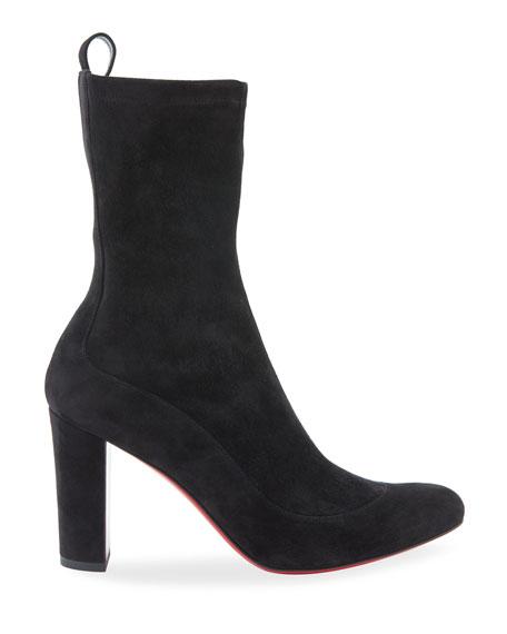 Gena Stretch Suede Midi Boot, Black