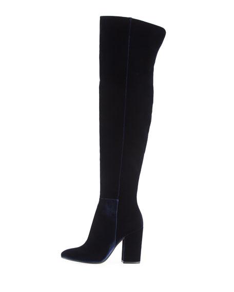 Velvet Over-the-Knee Block-Heel Boot