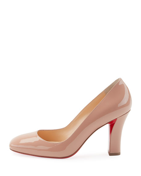 Viva Patent Red Sole Pump, Beige