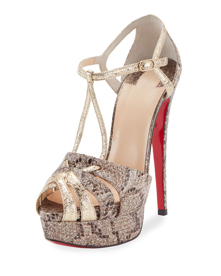 Glennalta Glitter T-Strap 150mm Red Sole Sandal