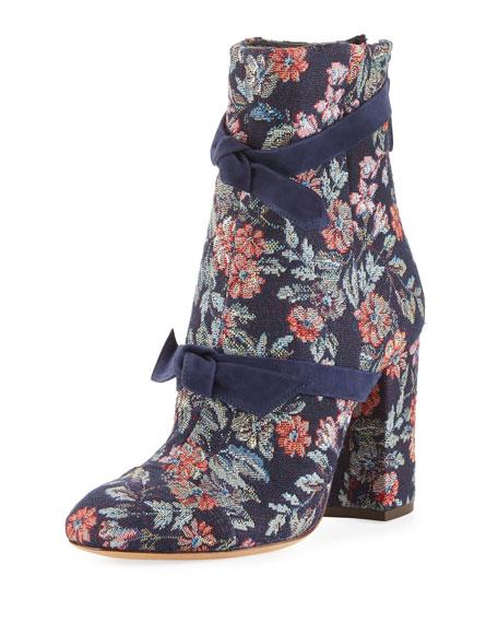 Alexandre Birman Lauren Floral Jacquard Bow Boot