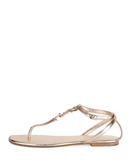 Monogram Metallic Flat Thong Sandal, Gold