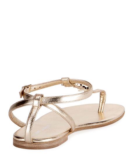 3bab5cc1e1275 Saint Laurent Monogram Metallic Flat Thong Sandal