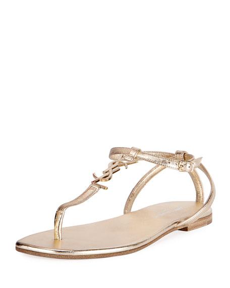 Saint Laurent Monogram Metallic Flat Thong Sandal